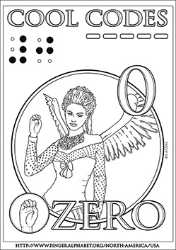 Fingeralphabet Cool-Codes Coloring ZERO, by Lassal (with ASL, Braille, Phonetic Code, Morse)