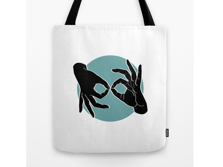 Society6 – Tote Bag – Black on Turquoise 00
