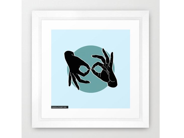 Society6 – Framed Art Print / Vector White – Black on Turquoise 03