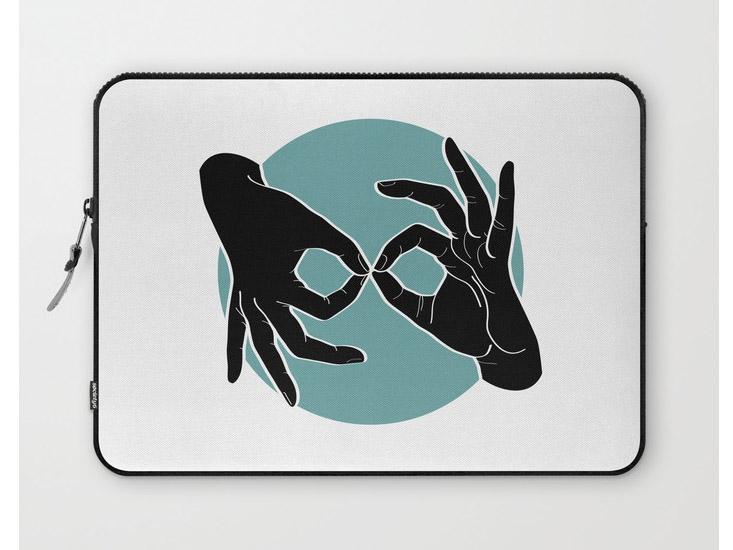 Society6 – Laptop Sleeves – Black on Turquoise 00