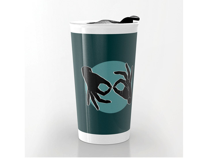 Society6 – Travel Mug – Black on Turquoise 07