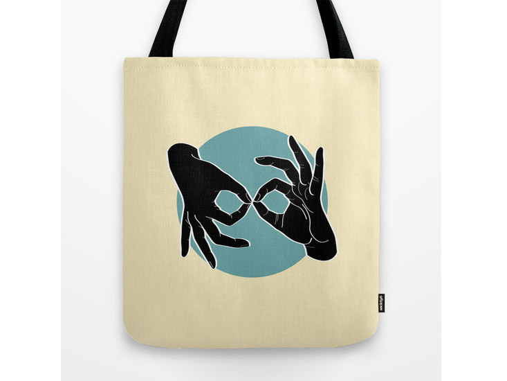 Society6 – Tote Bag – Black on Turquoise 04