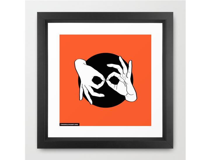 Society6 – Framed Art Print / Vector Black – White on Black 08