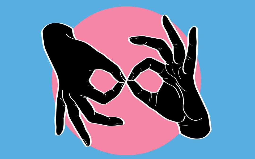 ASL Interpreter – Black on Pink