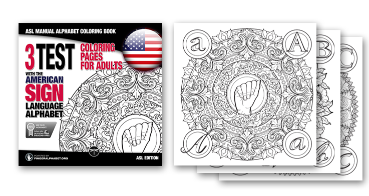ASL Alphabet Coloring Book for Adults